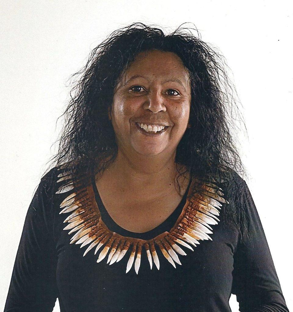 Maree Clarke wearing kangaroo tooth necklace